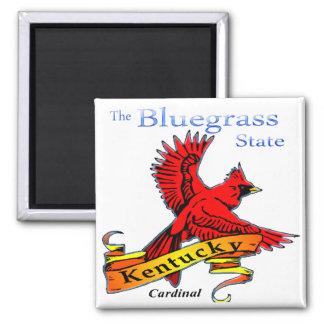 Kentucky Bluegrass State Cardinal 2 Inch Square Magnet
