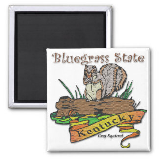Kentucky Bluegrass State Gray Squirrel 2 Inch Square Magnet