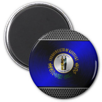Kentucky brushed metal flag 2 inch round magnet