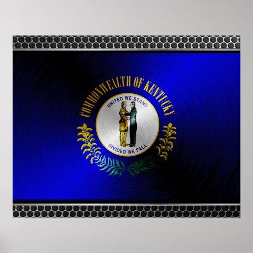 Kentucky brushed metal flag poster