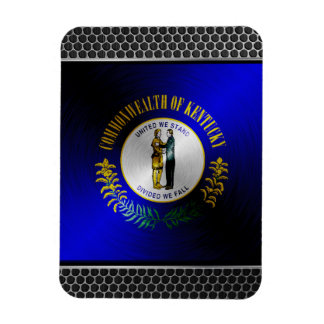 Kentucky brushed metal flag rectangular photo magnet