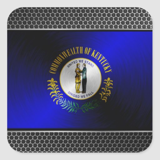 Kentucky brushed metal flag sticker