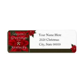 Kentucky Christmas Poinsettia Return Address Label