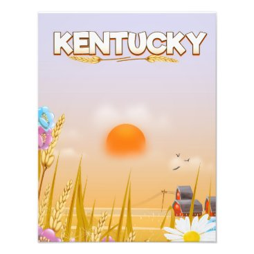 USA Themed Kentucky Cute Farm travel poster