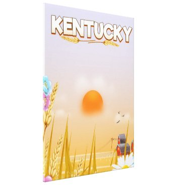 USA Themed Kentucky Cute Farm travel poster Canvas Print