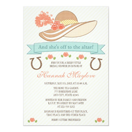 KENTUCKY DERBY HAT BRIDAL SHOWER INVITATION Zazzlecom