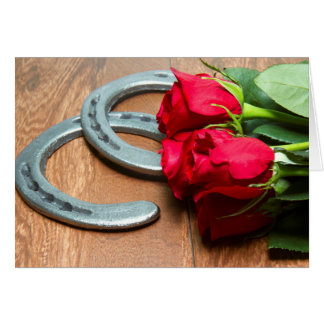 Kentucky Derby Red Roses with Horseshoes on Wood Card