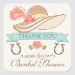 KENTUCKY DERBY THEMED BRIDAL SHOWER THANK YOU SQUARE STICKER
