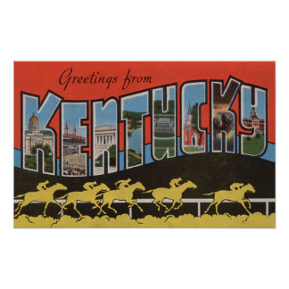 Kentucky (escena) de la carrera de caballos - esce póster