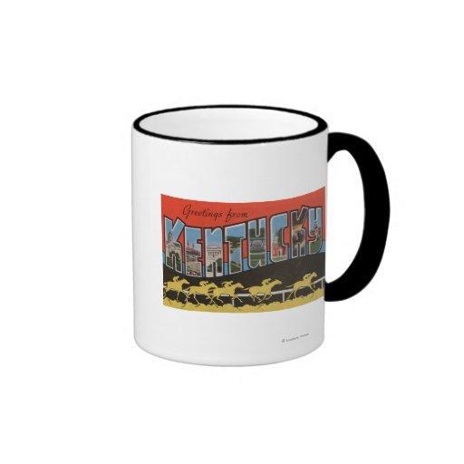 Kentucky (escena) de la carrera de caballos - esce taza