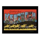 Kentucky (escena) de la carrera de caballos - postal