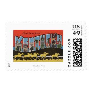 Kentucky (escena) de la carrera de caballos - timbre postal