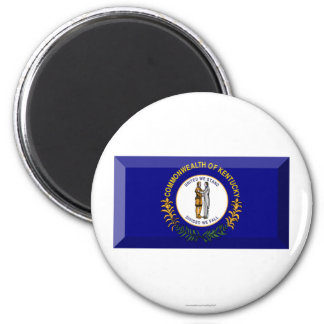 Kentucky Flag Gem 2 Inch Round Magnet