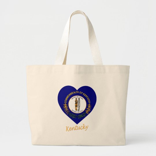 Kentucky Flag Heart Large Tote Bag