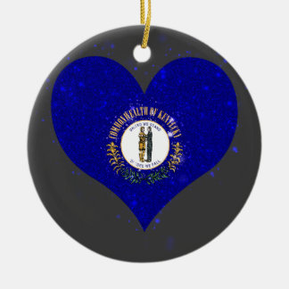 Kentucky Flag Shining Unique Double-Sided Ceramic Round Christmas Ornament