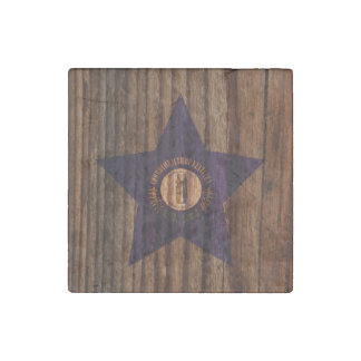 Kentucky Flag Star on Wood theme Stone Magnet