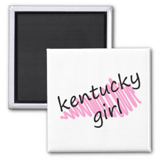 Kentucky Girl with Scribbled Kentucky Map 2 Inch Square Magnet