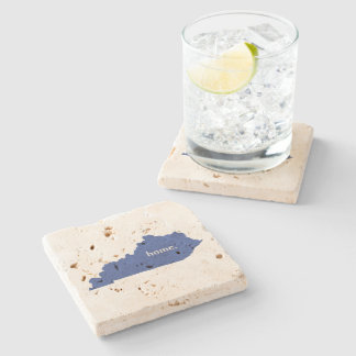 Kentucky home silhouette state map stone coaster