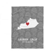Kentucky Home State Map - Custom Wedding Names Fleece Blanket