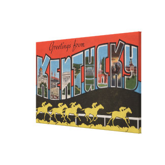 Kentucky (Horse Race Scene) - Large Letter Scene Canvas Print