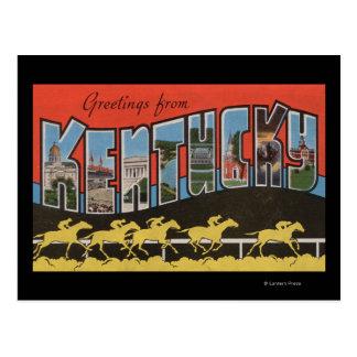 Kentucky (Horse Race Scene) - Large Letter Scene Postcard