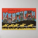 Kentucky (Horse Race Scene) - Large Letter Scene Posters
