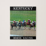 "Kentucky Horse Racing Jigsaw Puzzle<br><div class=""desc"">The state horse of Kentucky is a Thoroughbred.  Horse Racing,  Bluegrass Music and Bourbon whiskey are popular in Kentucky.</div>"