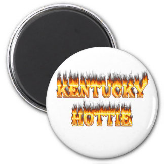 Kentucky hottie fire and flames 2 inch round magnet