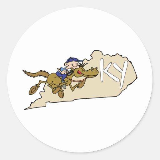 Kentucky KY State Map & Kentucky Derby Race Horse Classic Round Sticker