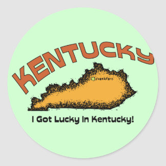 Kentucky KY US Motto ~ I Got Lucky In Kentucky Classic Round Sticker