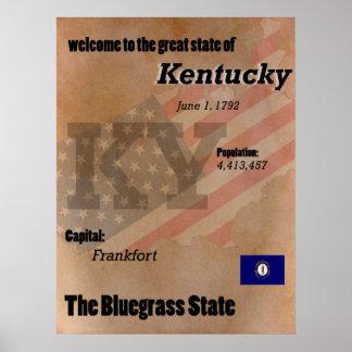 Kentucky la obra clásica del estado del Bluegrass Póster