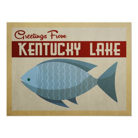 Kentucky Lake Fish Vintage Travel Poster