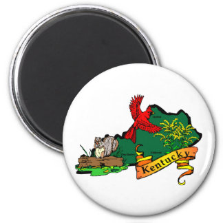 Kentucky map 2 2 inch round magnet