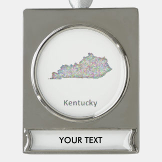 Kentucky map silver plated banner ornament