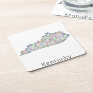 Kentucky map square paper coaster