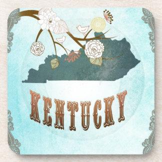 Kentucky Map With Lovely Birds Coaster