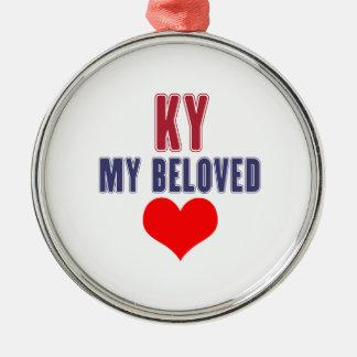 Kentucky mi querido adorno navideño redondo de metal