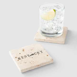 Kentucky Name with State Shaped Letter Stone Coaster