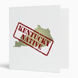 Kentucky Native Stamped on Map 3 Ring Binder