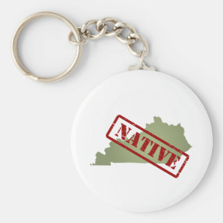 Kentucky Native with Kentucky Map Basic Round Button Keychain