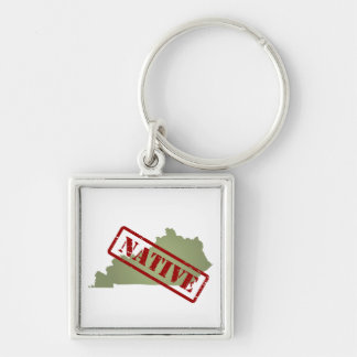 Kentucky Native with Kentucky Map Silver-Colored Square Keychain