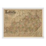 Kentucky Railroad Map 1863 Poster