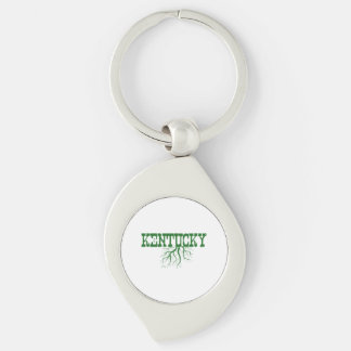 Kentucky Roots Silver-Colored Swirl Metal Keychain