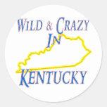 Kentucky - salvaje y loco pegatina redonda