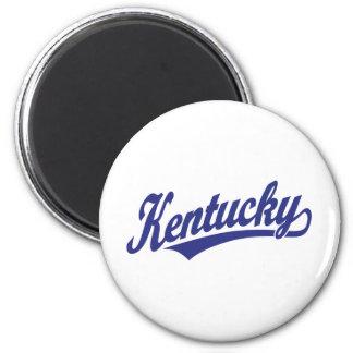 Kentucky script logo in blue 2 inch round magnet