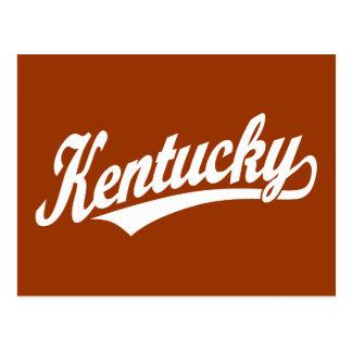 Kentucky script logo in white postcard