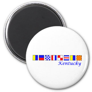 Kentucky spelled in nautical flag alphabet 2 inch round magnet