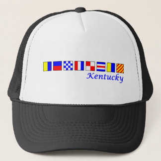 Kentucky spelled in nautical flag alphabet trucker hat