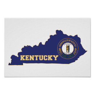 Kentucky State Flag and Map Poster