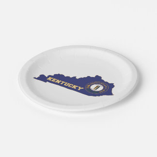 Kentucky State Flag and Map 7 Inch Paper Plate